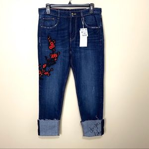 ZARA Embroidered Cigarette Straight Jeans NWT